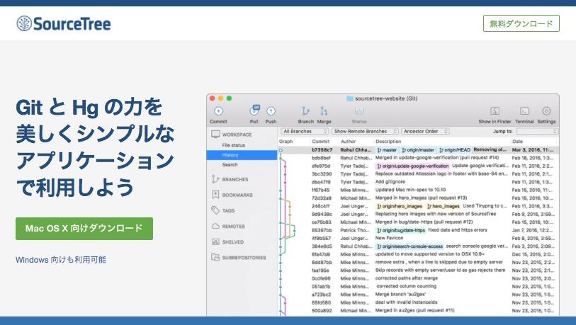 GitのGUIツール:SourceTree