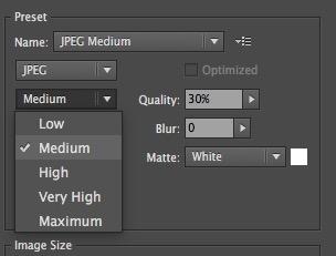JPEGの圧縮率の設定