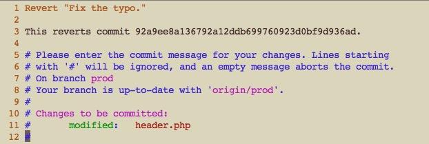 git revert によるコミットメッセージ編集画面